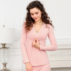 A set of Maternity clothes long pants suit lactation clothes underwear cotton pajamas home wear pink A set of clothes