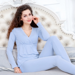 A set of Maternity clothes long pants suit lactation clothes underwear cotton pajamas home wear blue A set of clothes