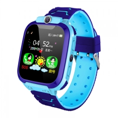 Children's phone watch GPS+OSO voice talking flashlight photo smart watch for IOS&Android blue A watch