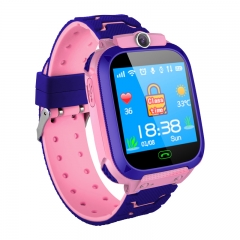 Children's phone watch GPS+OSO voice talking flashlight photo smart watch for IOS&Android red A watch