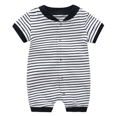 2019 New Design Baby New Born Stripe Army Short Sleeve Cotton Jumpsuit Baby Suit Layette Black 66 cm