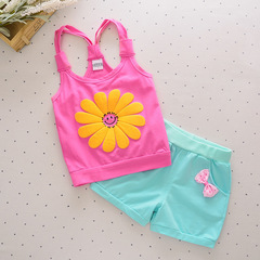 2019 New summer baby kids Girl Sun Flower tank top set 3 80 cm