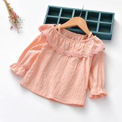 New Design Girl Lace flower edge long sleeve mandarin sleeve top 1 90 cm