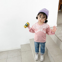 2019 New design Girl leisure pure color lace round neck long sleeve top 1 90 cm