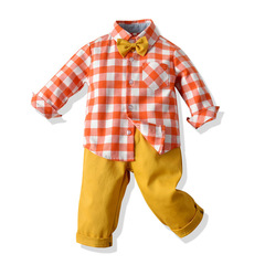 New design long sleeve shirt and trouser boy clothing suit set 8 100 cm