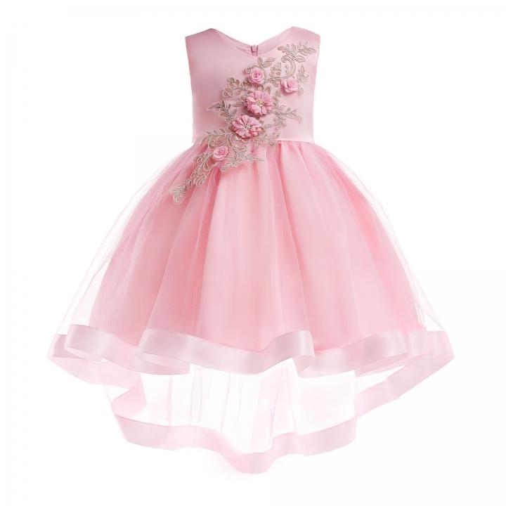 Girl Dress Party 2018 Children Dress Elegant Baby Girl Dress Children Dress for Carnival Party Pink 120#