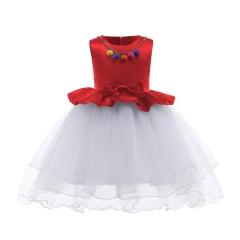 Trendy Girl Dress 2018 New Fashion Children Dress Hot sale High-class Dress Red 100#