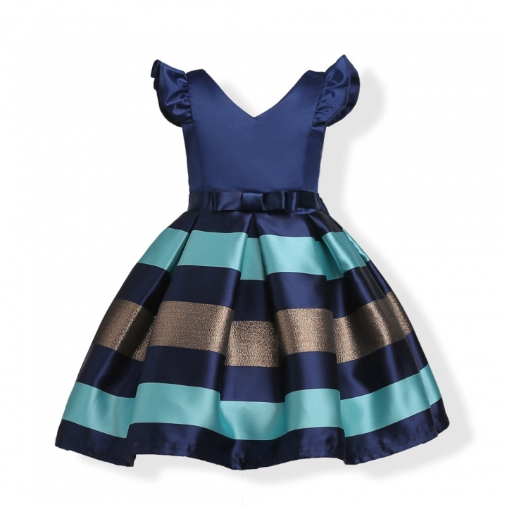Children Dress Baby Girl Party Dress Exquisite Girl Clothes Classical Blue 150#