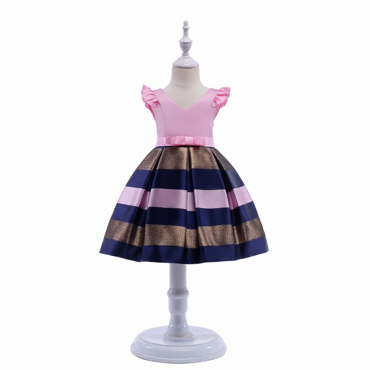 Children Dress Baby Girl Party Dress Exquisite Girl Clothes Pink 100#