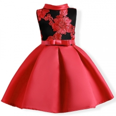 Girl Dress Party 2018 High-class Children Dress Elegant Baby Girl Dress Children Dress for Chinese Red 100#