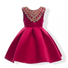 Girl Party Dress Wedding Dress Children Clothes Baby Clothing Dark Blue 100#