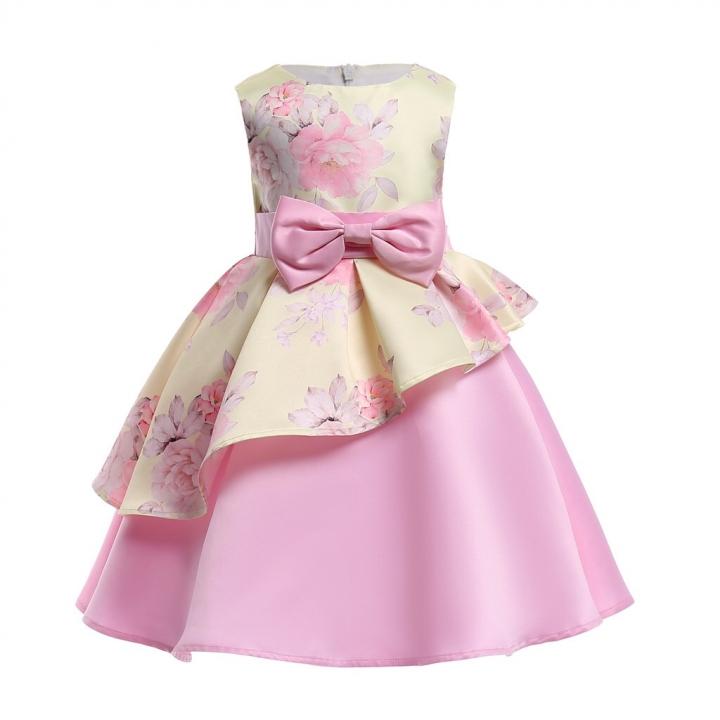 Girl Dress Party 2018 Children Dress Elegant Baby Girl Dress Children Dress for Wedding and Party yellow 120#