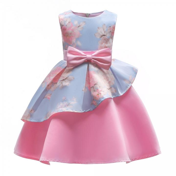 Girl Dress Party 2018 Children Dress Elegant Baby Girl Dress Children Dress for Wedding and Party light blue pink 120#