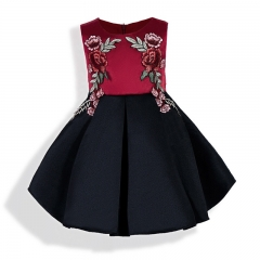 Children clothes baby clothes girl formal dress for party red with black 100#