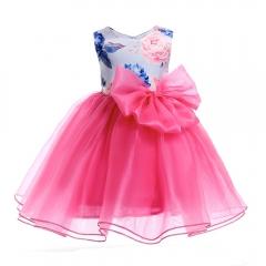 Girl Dress Party 2018 Children Dress Elegant Baby Girl Dress Children Dress rose pink 150#
