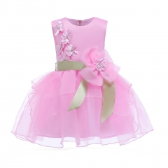 Children clothes baby clothes girl dress formal dress wedding dress Christmas dress New Year Dress pink 100#