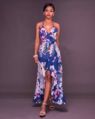 women dress long dress party dress fashion clothes lady clothes diamond blue flowers s