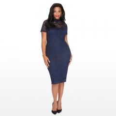 big sizes women dress women clothes summer dress lace dress 3XL 4XL 5XL 6XL diamond blue lace 3XL