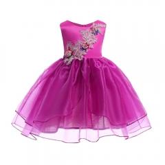 Girl Dress Party 2018 Children Dress Elegant Girl Dress Children Dress for Carnival Party rose red 100#