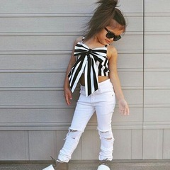 Fashionable New Style Dress Girl Dress Children Clothes Separates Suits Baby Clothes Top+Trousers stripe 120cm