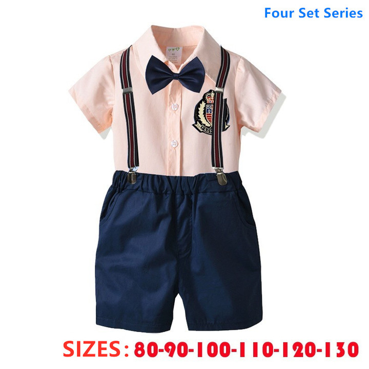 Boy clothes cute suits for boy children with suspenders and bow knot four pieces Lovely pink+diamond blue 120cm