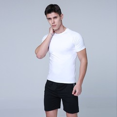 Casual clothes sports wear workout clothes jogging shirt and pants for men pearl white+black M