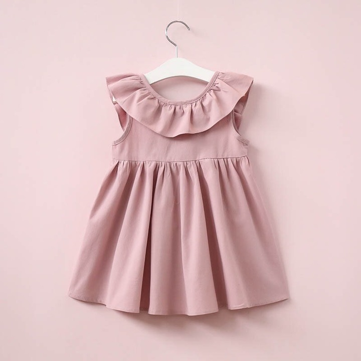Bowknot pleated skirt for girl pure cotton children dress with fashionable design pink 90#