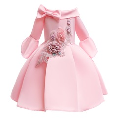 Embroidered skirt for girls formal children dress with bowknot party dress pink 100#