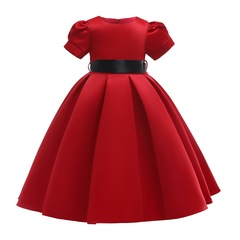 Princess dress for girls fashionable children clothes with belt party dress red 100#