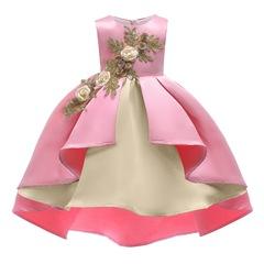2019 Children skirt girl dress formal dress wedding dress Christmas dress New Year Dress pink 100#