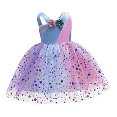 Rainbow flower skirt for girls with shining stars formal party dress performance dress orange yellow 150#