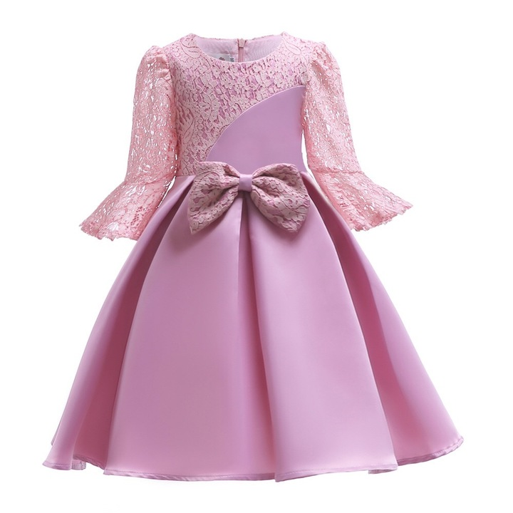 Children skirts with bowknot lace dress for girls formal party dress for children pink 100#