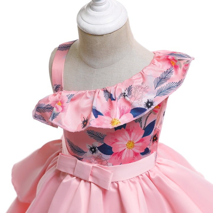 2019 Children clothes girl dress formal dress wedding dress party dress for Christmas and New Year pink 100#
