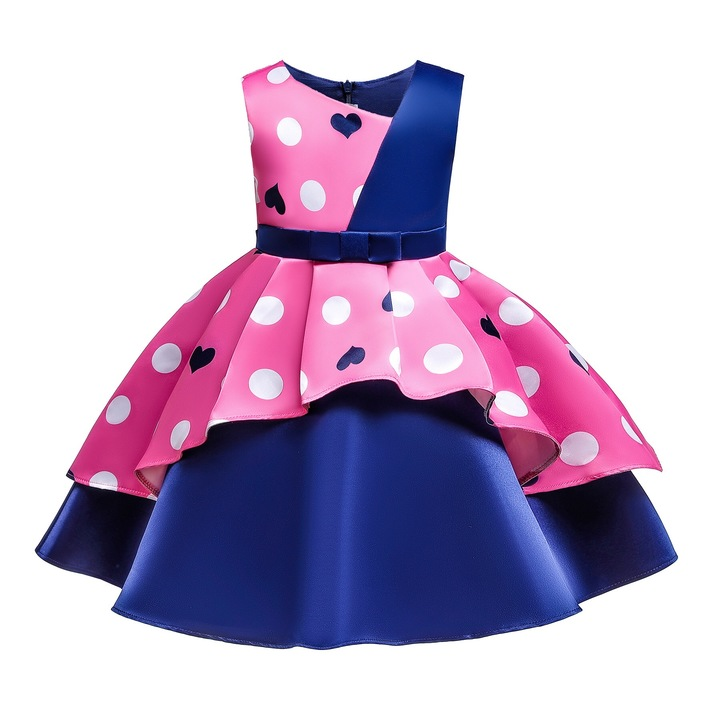 Wave point heart-shaped print skirt for girls cute children clothes for new year and Christmas pink blue 130#