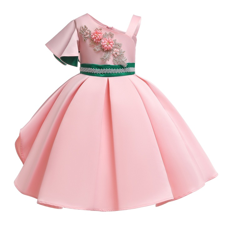 Princess dress for party new year and Christmas formal dress with embroidery pink 100#