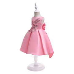 Embroidered skirt for girls formal children dress fashionable clothes party dress pink 100#