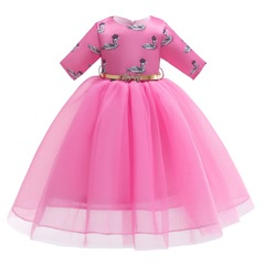 Mesh lace girl dress party dress children skirt with printed swan pattern pink 100#