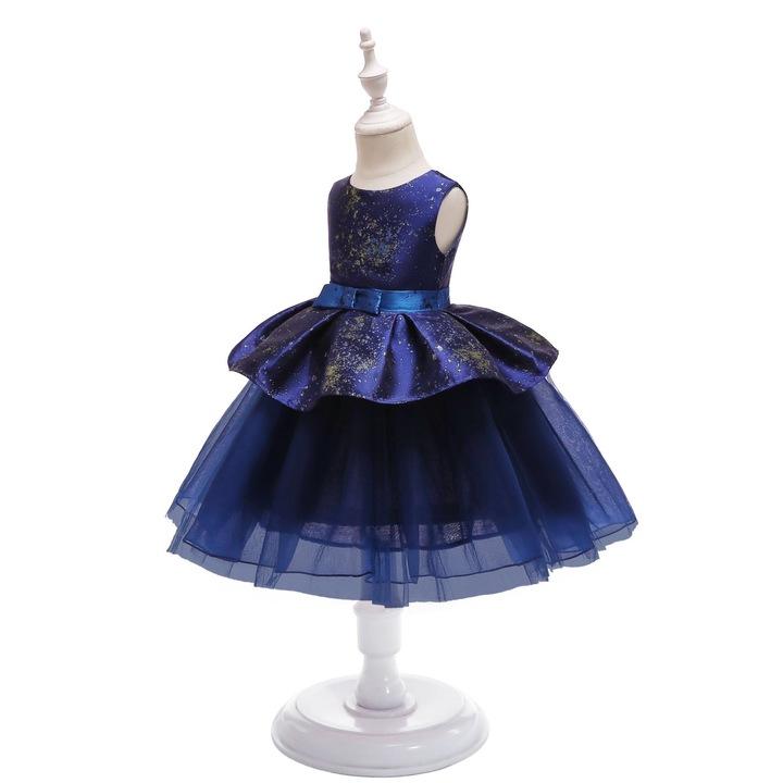 Mesh lace dress for girls fashionable children dress skirt with belt diamond blue 100#