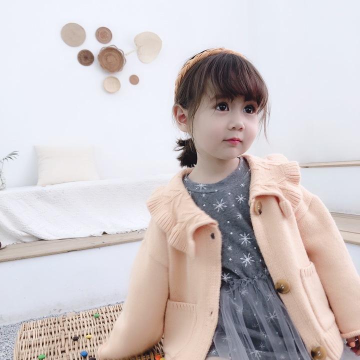 Lotus flouncing collar girl cashmere children cardigan casual sweater coat light orange 130#