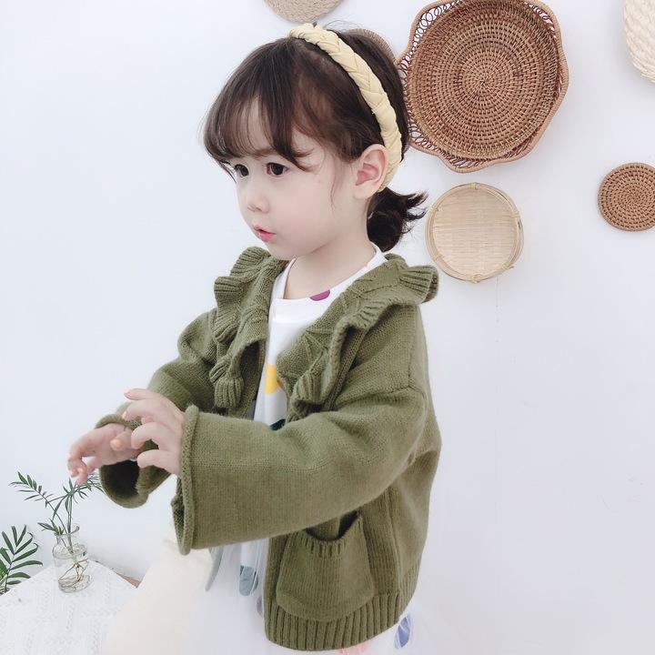 Lotus flouncing collar girl cashmere children cardigan casual sweater coat mustard green 80#