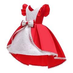 Children stylish skirt girl dress formal dress wedding dress Christmas dress New Year Dress red 130#