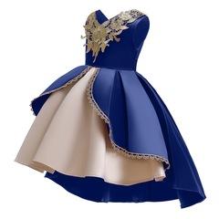 Girl fashionable clothes dress skirt wedding dress Christmas dress new year dress clothes blue 100#