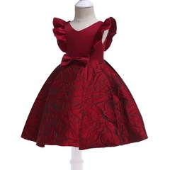 Flower girl dress children wedding dress Christmas dress New Year Dress red 100#