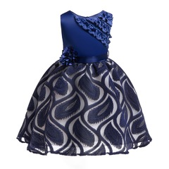 Christmas and New Year lace dress flower girl dress children clothes formal dress for party blue 100#