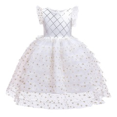 Girl party dress skirt wedding dress Christmas dress new year formal dress clothes white 100#