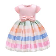 Girl silk formal dress skirt wedding dress Christmas dress new year party dress children clothes pink 100#