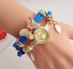 New spiral bracelet gold bow leaf pendant for ladies quartz watch blue