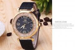 New trend watch fashion shiny belt watch quicksand water drill woman watch black