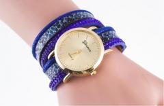 Geneva  two serpentine  quartz watch blue