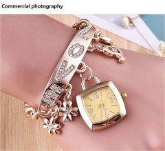 Personality square watch LOVE alloy bracelet quartz watch gold